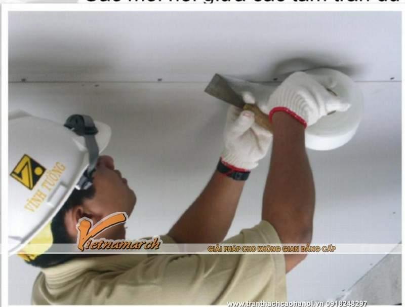 Hướng dẫn thi công trần thạch cao khung xương vĩnh tường trần chìm - bước 10 xử lý viền trần