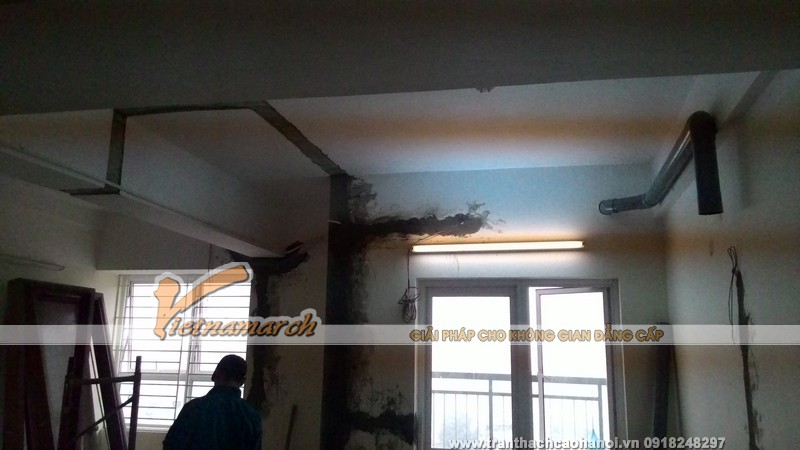 Thi công làm trần thạch cao tại Phạm Văn Đồng nhà anh Hưng