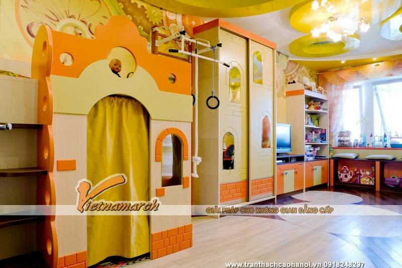 Gợi ý những mẫu trần thạch cao đẹp nhất cho phòng ngủ trẻ em-04