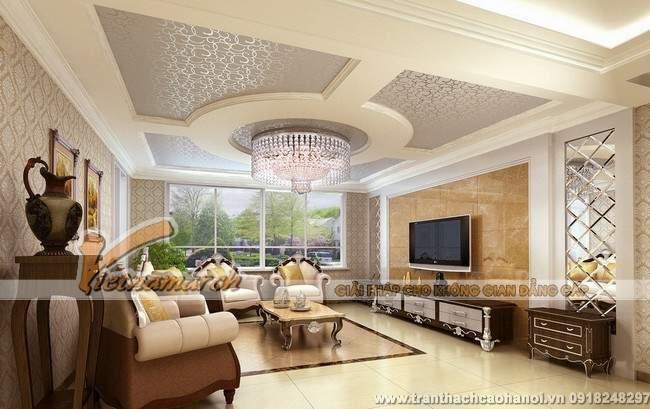 mẫu thiết kế trần thạch cao phòng khách sang trọng