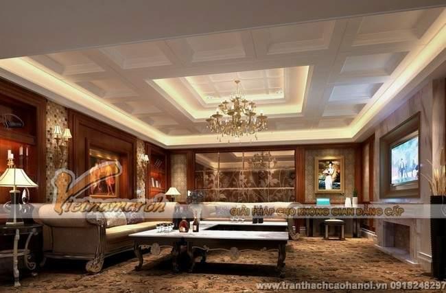 mẫu thiết kế trần thạch cho phòng khách sang trọng