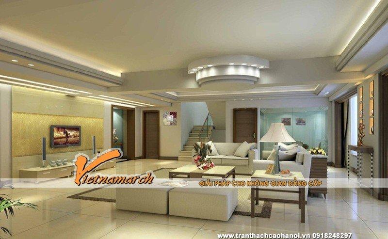 Không gian phòng khách trở lên rộng hơn nhờ hệ trần được thiết kế hợp lý