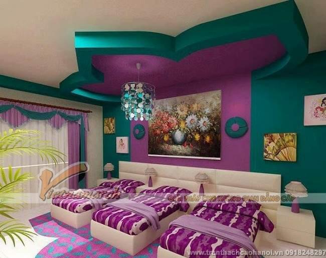 Thiết kế trần thạch cao đẹp và dễ thương cho phòng ngủ trẻ em