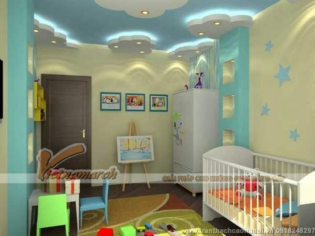 Thiết kế trần thạch cao đẹp và dễ thương cho phòng ngủ trẻ em4