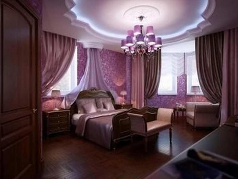 Thi công trần thạch cao màu tím cho phòng ngủ tuyệt đẹp