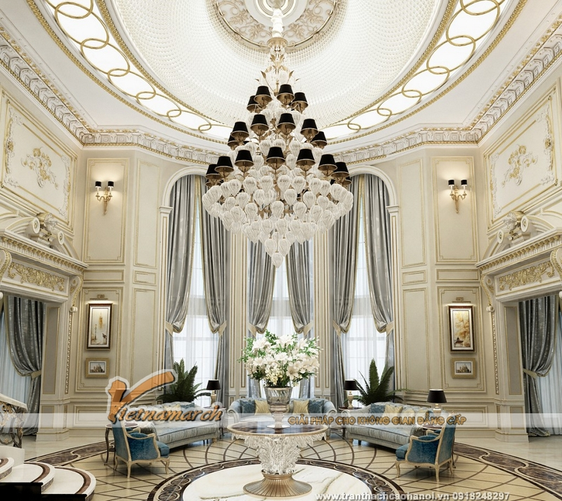 Mẫu trần thạch cao cổ điển cho không gian phòng khách sang trọng vô cùng