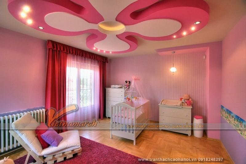 Thiết kế trần thạch cao cho phòng ngủ bé gái cực xinh-01