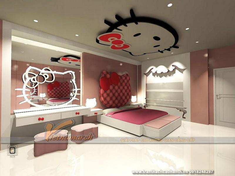 Thiết kế trần thạch cao cho phòng ngủ bé gái cực xinh-03