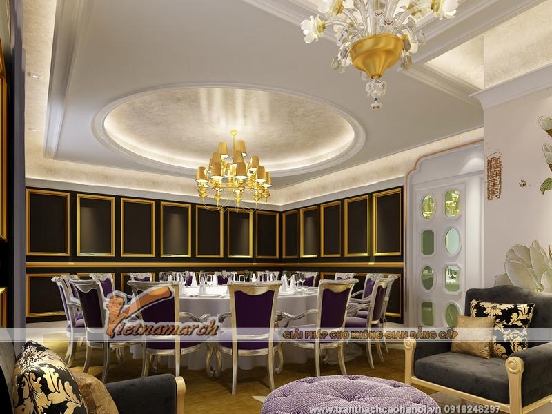 Mẫu trần thạch cao phòng ăn cổ điển đẹp khó cưỡng khiến gia đình thêm sang
